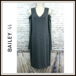 Bailey 44 Gray Cold Shoulder Bodycon Midi Dress